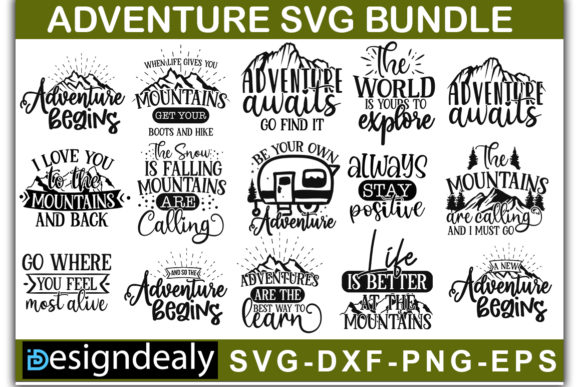 Download Free Adventure Quotes Bundle Graphic By Designdealy Com Creative for Cricut Explore, Silhouette and other cutting machines.