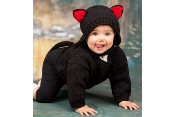 Baby Cat Costume Pattern Graphic Knitting Patterns By wunderfulwool