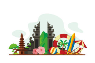 Download Free Bali Travel Flat Design Illustration Graphic By Lartestudio for Cricut Explore, Silhouette and other cutting machines.