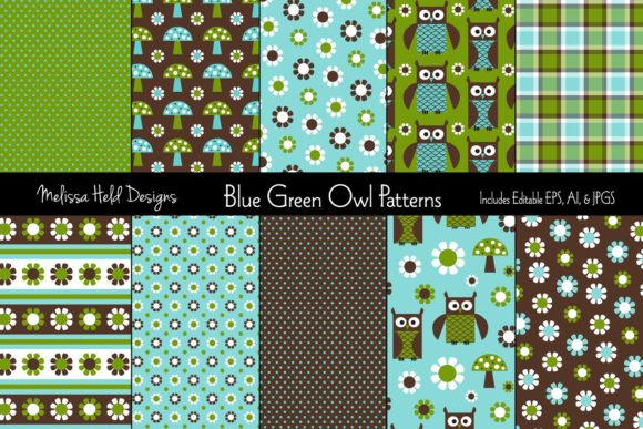 Download Free Blue Green Owl Patterns Graphic By Melissa Held Designs for Cricut Explore, Silhouette and other cutting machines.