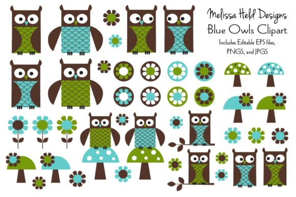 Download Free Blue Owl Clipart Graphic By Melissa Held Designs Creative Fabrica for Cricut Explore, Silhouette and other cutting machines.
