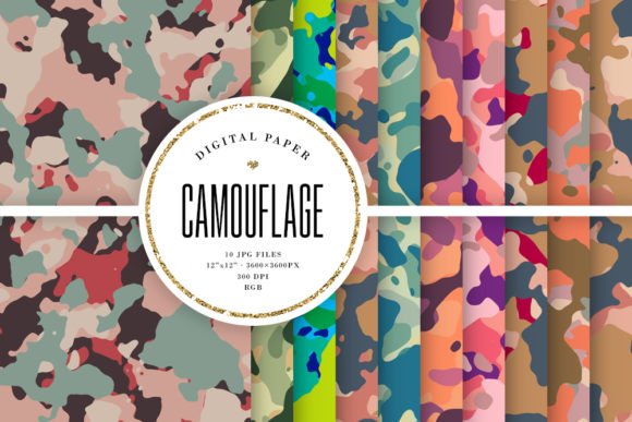 Print on Demand: Camouflage Digital Paper, Camo Patterns Graphic Backgrounds By Sabina Leja
