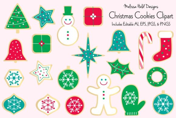 Download Free Christmas Cookies Clipart Graphic By Melissa Held Designs for Cricut Explore, Silhouette and other cutting machines.