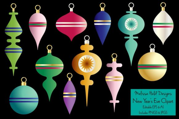 Christmas Ornaments Clipart Graphics Graphic Illustrations By Melissa Held Designs