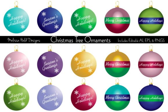 Download Free Christmas Tree Ornaments Graphic By Melissa Held Designs for Cricut Explore, Silhouette and other cutting machines.