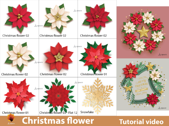 Download Free Christmas Paper Flowers Templates Graphic By Lasquare Info for Cricut Explore, Silhouette and other cutting machines.