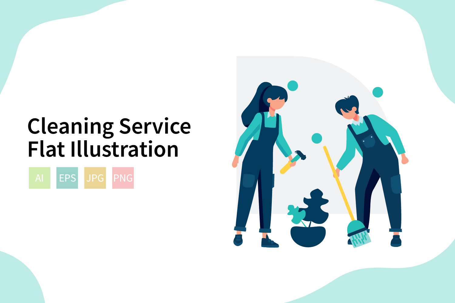 Download Free Cleaning Service Flat Illustration Graphic By Sixtwenty Studio Creative Fabrica for Cricut Explore, Silhouette and other cutting machines.