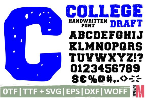 Print on Demand: College Draft Script & Handwritten Font By Typography Morozyuk