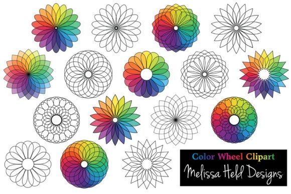 Color Wheel Flower Clipart Graphic Icons By Melissa Held Designs