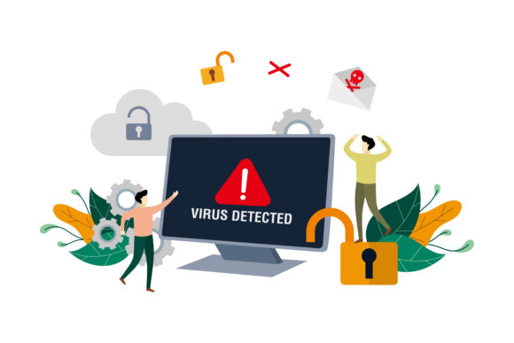 Download Free Computer Virus Flat Design Illustration Graphic By Lartestudio for Cricut Explore, Silhouette and other cutting machines.