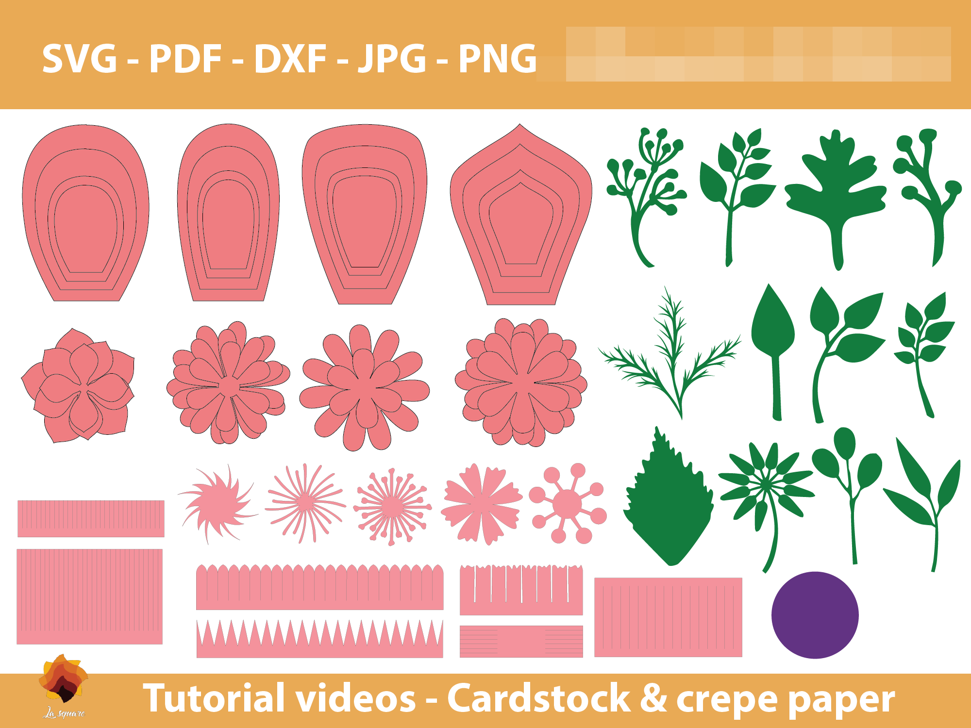 Download Free 08 Giant Paper Flowers Template Graphic By Lasquare Info for Cricut Explore, Silhouette and other cutting machines.