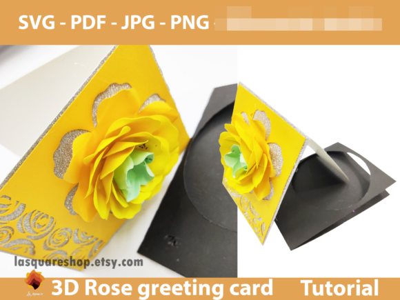 Download Free Diy 3d Rose Valentine Greeting Card Graphic By Lasquare Info for Cricut Explore, Silhouette and other cutting machines.