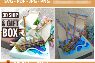 Print on Demand: 3D Simple Ship Template Graphic 3D SVG By lasquare.info