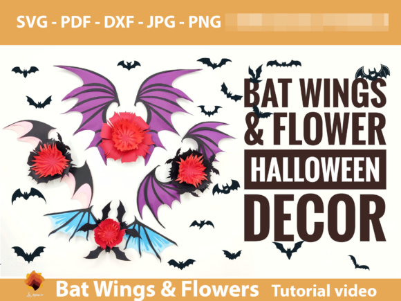 Bat Wings Halloween Flower Template Graphic 3D Flowers By lasquare.info