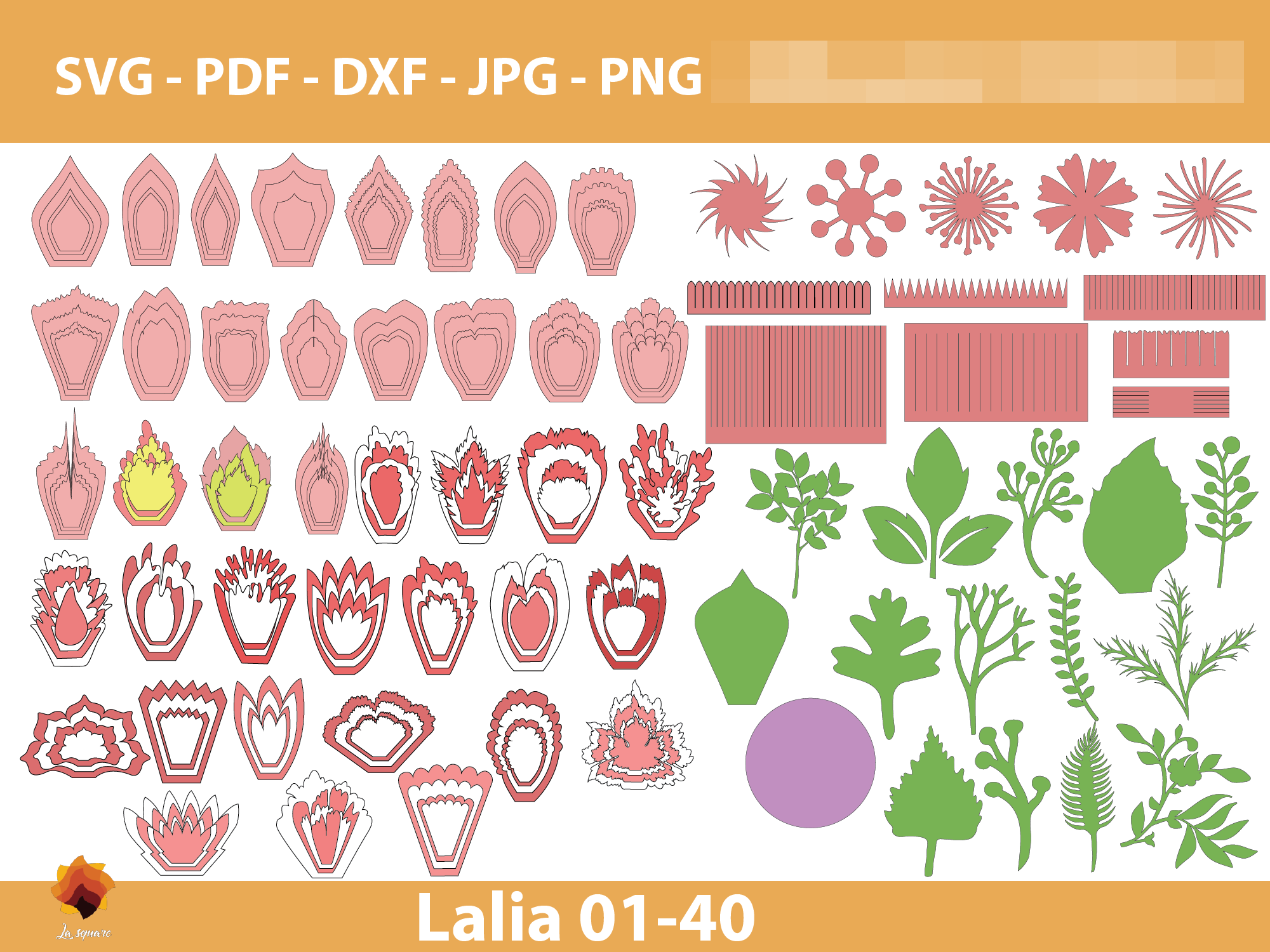 40 Laila Paper Flowers Templates Graphic By Lasquare Info Creative Fabrica