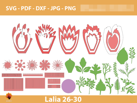 Download Free Lalia 26 30 Giant Paper Flowers Graphic By Lasquare Info for Cricut Explore, Silhouette and other cutting machines.