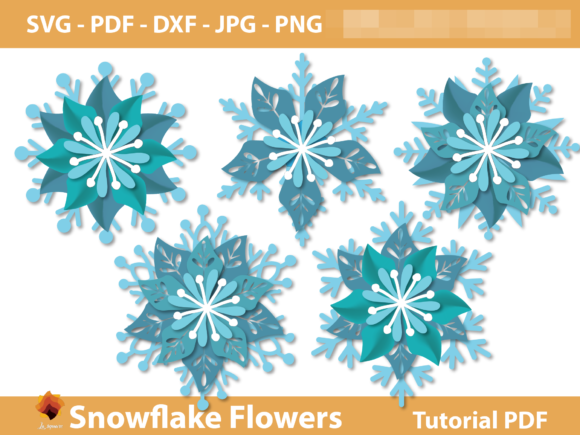 Snowflake Flowers Backdrop Template Graphic 3D Flowers By lasquare.info