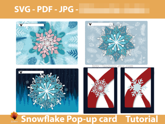 Print on Demand: Snowflake Pop-up 5x7in Greeting Card Graphic 3D Christmas By lasquare.info