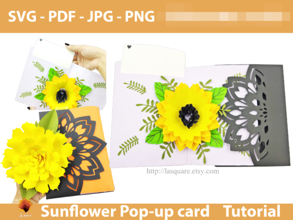 Download Free Sunflower Greeting Card Template Graphic By Lasquare Info for Cricut Explore, Silhouette and other cutting machines.