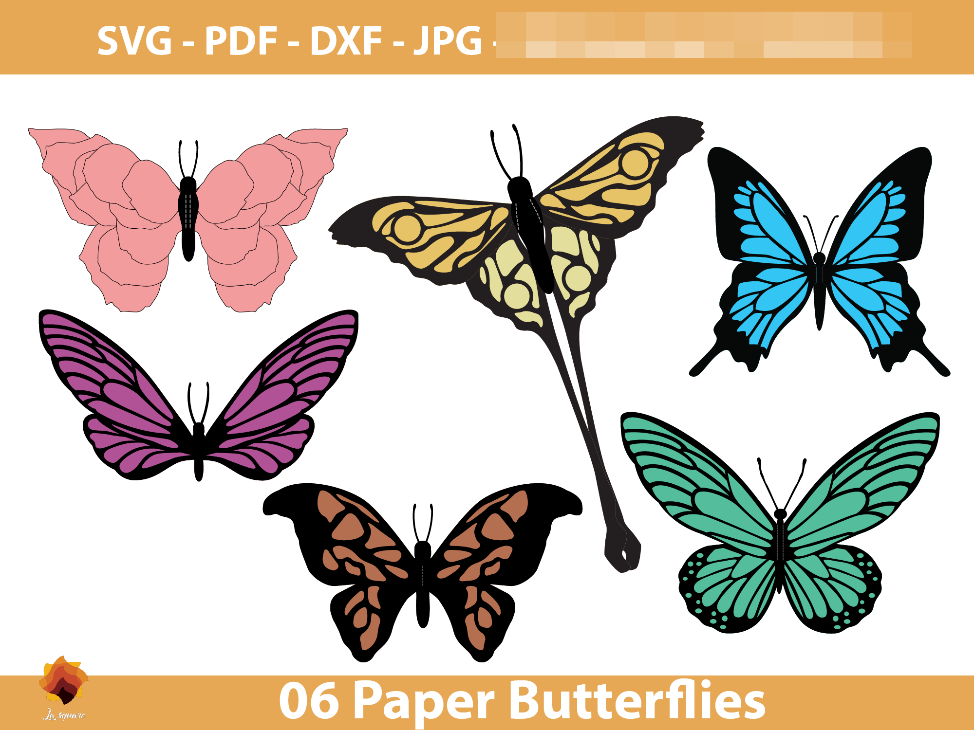 Download Free 06 Diy Paper Butterfly Templates Graphic By Lasquare Info SVG Cut Files