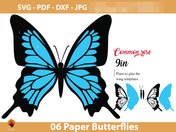 Download Free 06 Diy Paper Butterfly Templates Graphic By Lasquare Info for Cricut Explore, Silhouette and other cutting machines.