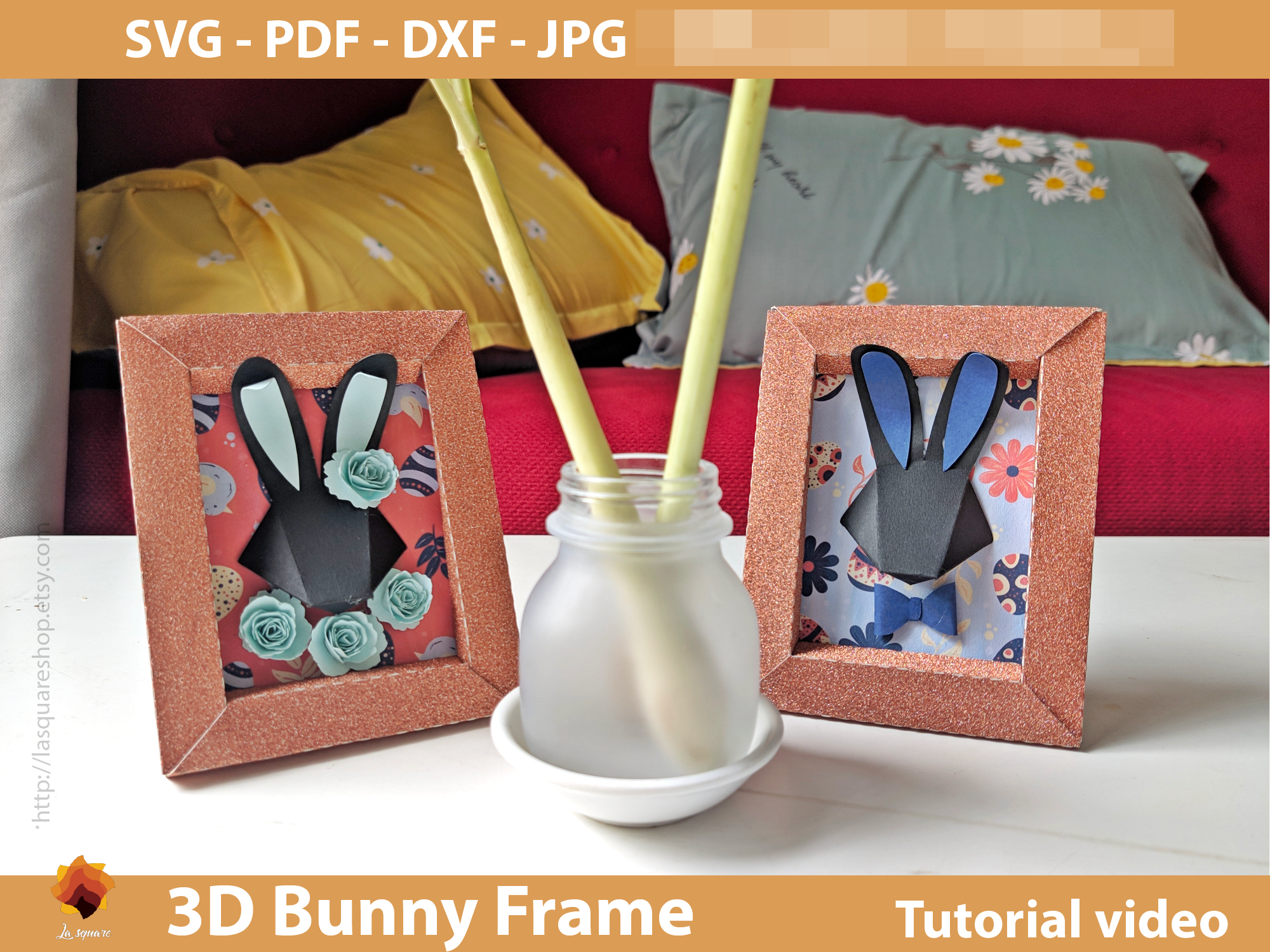 Download Free 3d Bunny Frame Paper Craft Easter Graphic By Lasquare Info for Cricut Explore, Silhouette and other cutting machines.