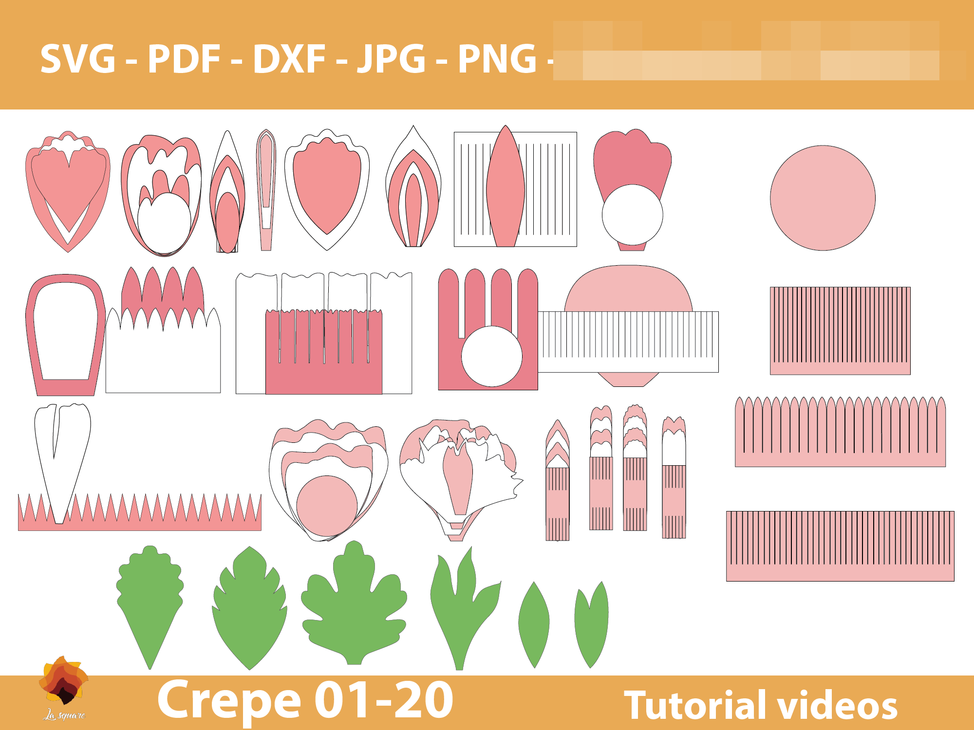 Download Free 20 Crepe Paper Flower Templates Graphic By Lasquare Info for Cricut Explore, Silhouette and other cutting machines.