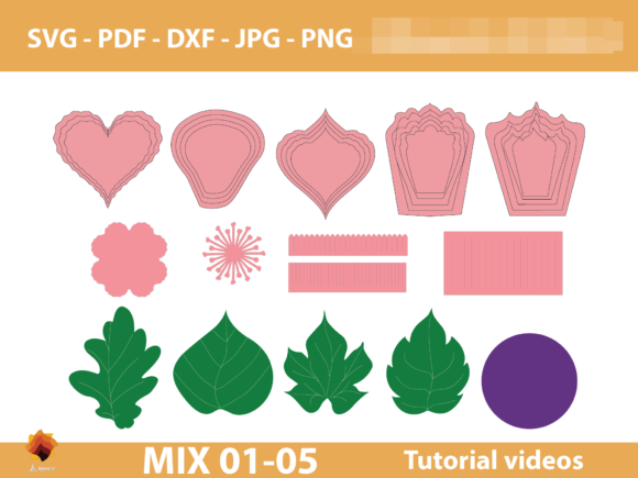 Download Free 2 Small Flower Pdf Designs Graphics for Cricut Explore, Silhouette and other cutting machines.