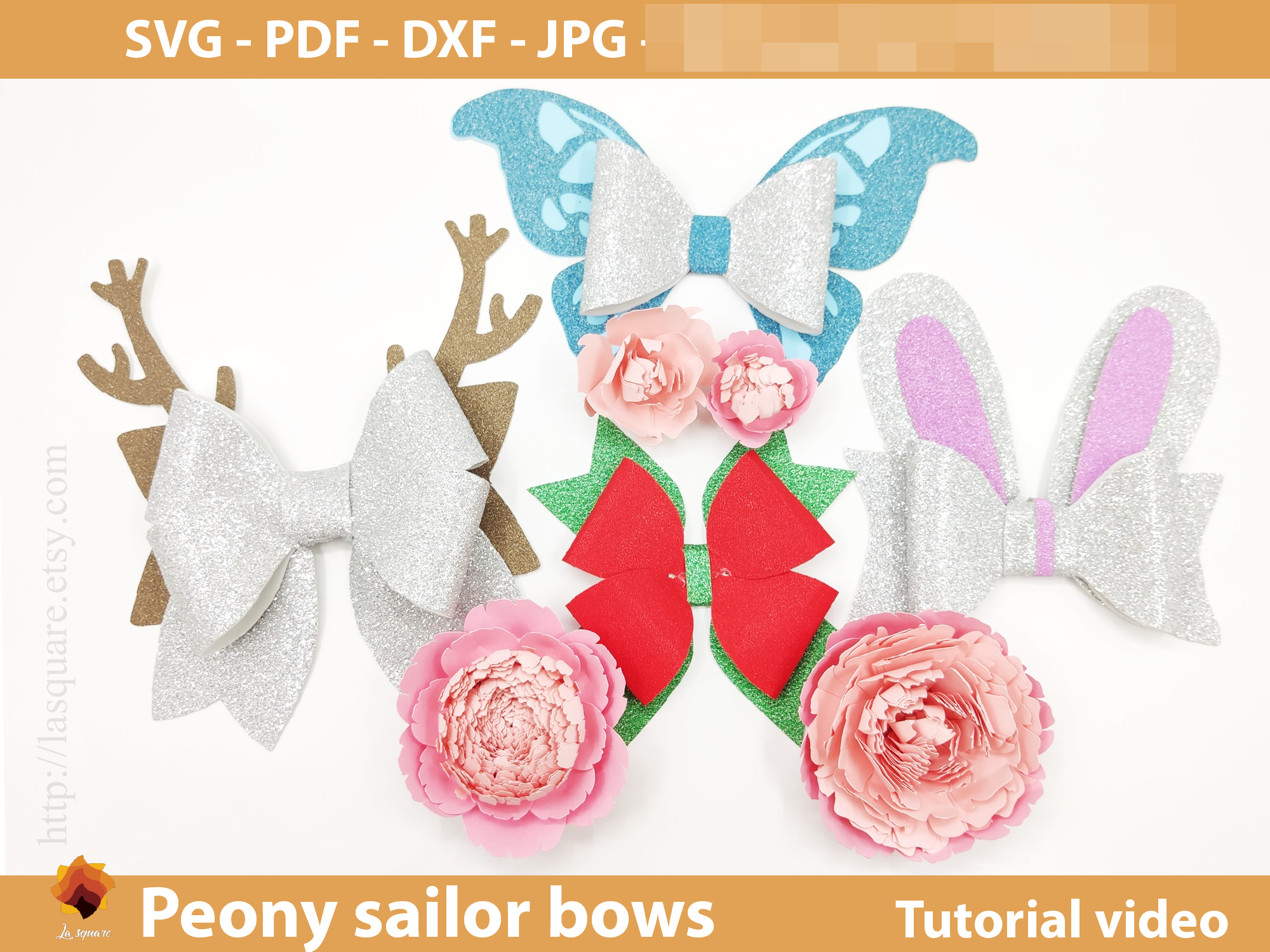 Download Free Sailor Bow Peony Flower Templates Graphic By Lasquare Info for Cricut Explore, Silhouette and other cutting machines.