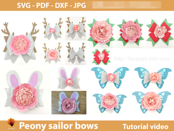 Sailor Bow Peony Flower Templates Graphic 3D SVG By lasquare.info - Image 3