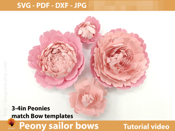 Sailor Bow Peony Flower Templates Graphic 3D SVG By lasquare.info - Image 4