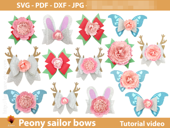 Sailor Bow Peony Flower Templates Graphic 3D SVG By lasquare.info - Image 5