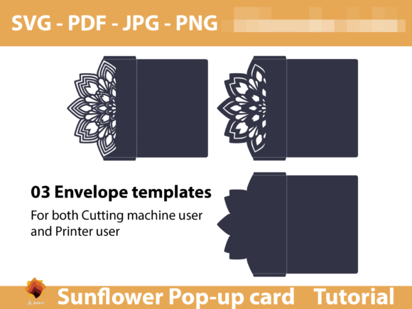 Download Free Sunflower Greeting Card Template Graphic By Lasquare Info Creative Fabrica for Cricut Explore, Silhouette and other cutting machines.