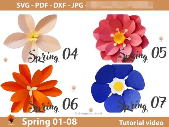 Download Free 08 Spring Paper Flowers Templates Graphic By Lasquare Info SVG Cut Files