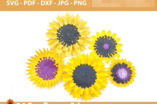 Print on Demand: 04 Sunflower Paper Flowers Backdrop Graphic 3D Flowers By lasquare.info