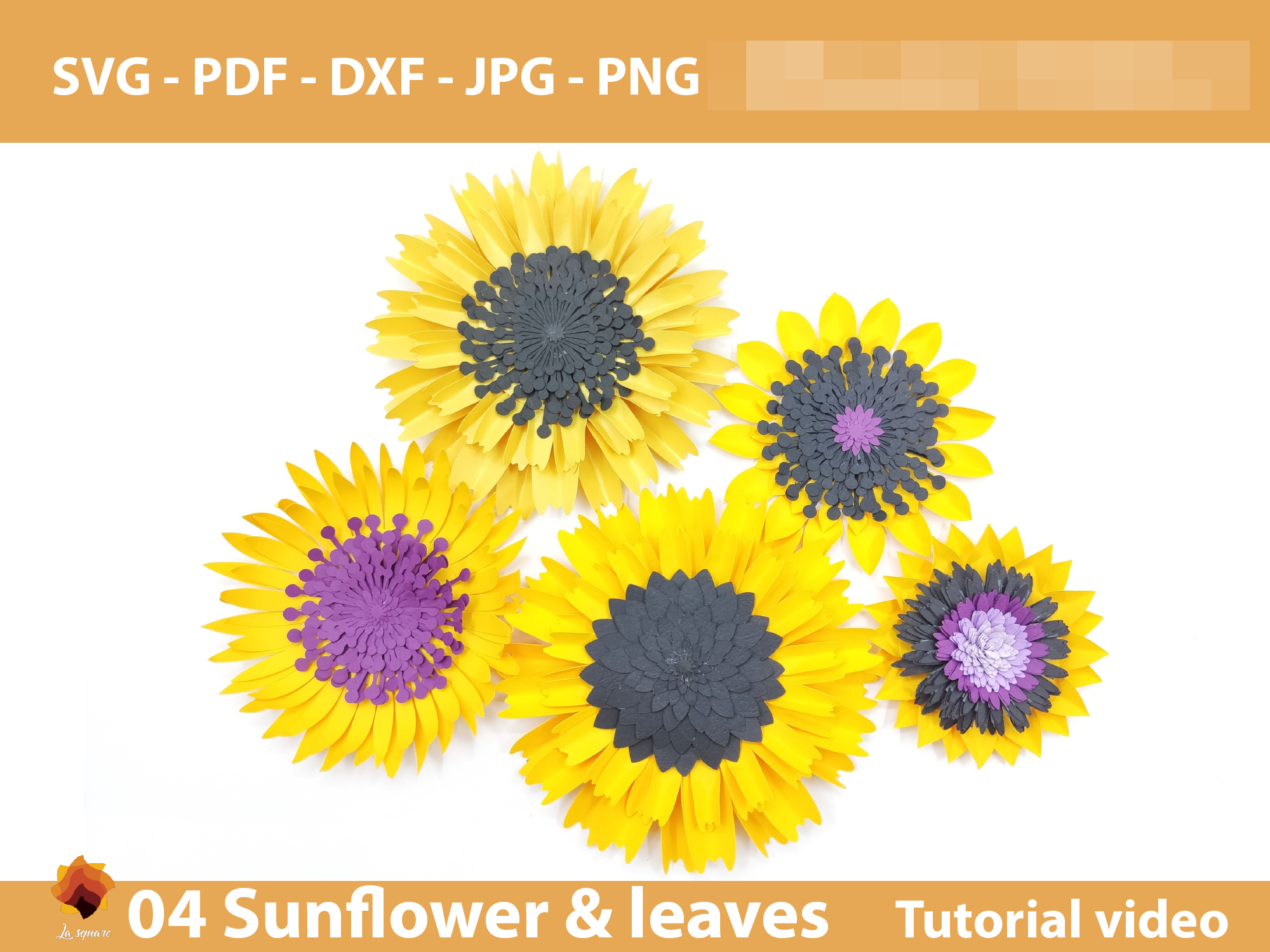 Download Free 04 Sunflower Paper Flowers Backdrop Graphic By Lasquare Info for Cricut Explore, Silhouette and other cutting machines.