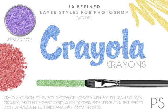 Crayola Crayons Graphic Layer Styles By FlyGirlMedia