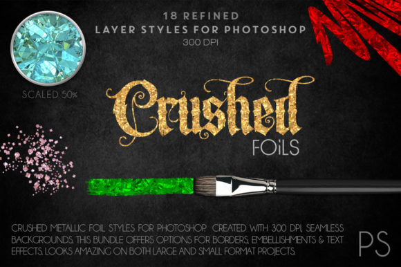 Crushed Metallic Foils Graphic Layer Styles By FlyGirlMedia