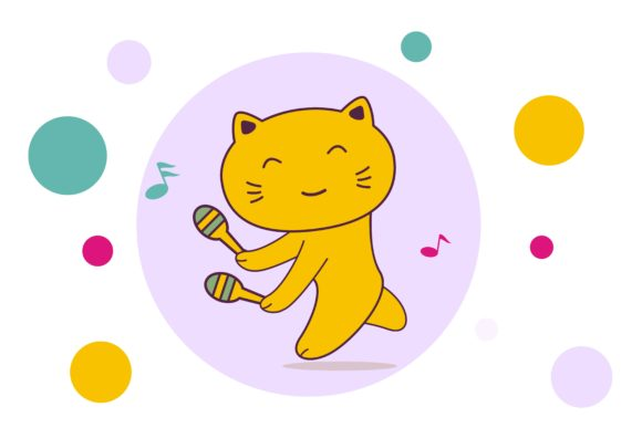 Cute Kitten Cartoon Playing Music Graphic Illustrations By edywiyonopp