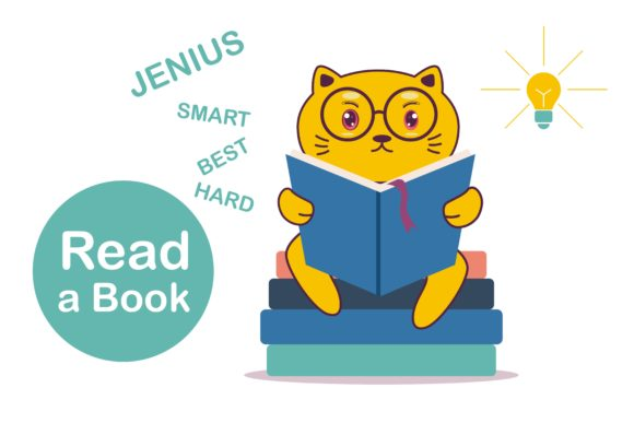 Cute Kitty Cartoon Reading Book Graphic Illustrations By edywiyonopp