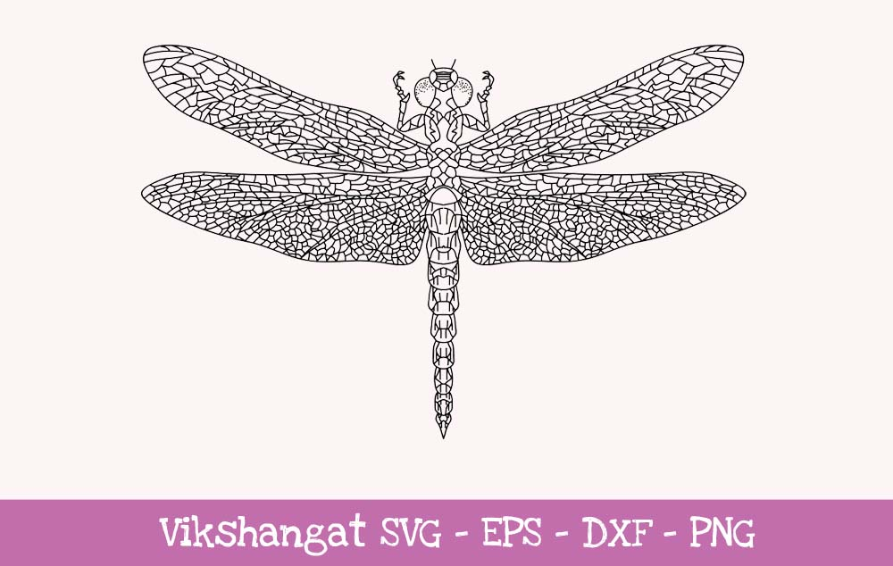 Download Free Dragonfly Illustration For Crafter Graphic By Vikshangat for Cricut Explore, Silhouette and other cutting machines.