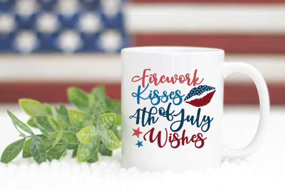 Print on Demand: Firework Kisses 4th of July Wishes Graphic Crafts By oldmarketdesigns - Image 5