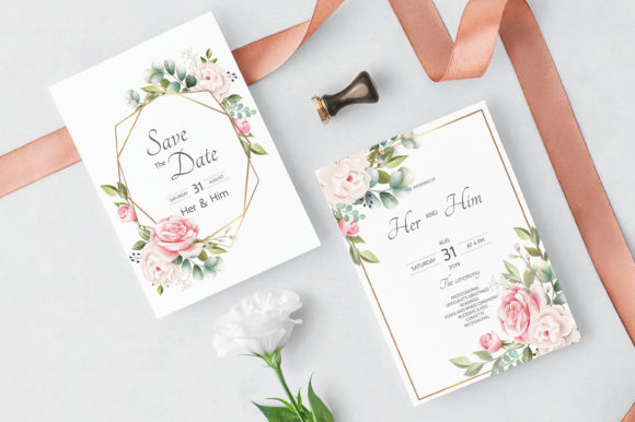 Floral Wreath Wedding Invitation Card Graphic Print Templates By dinomikael01