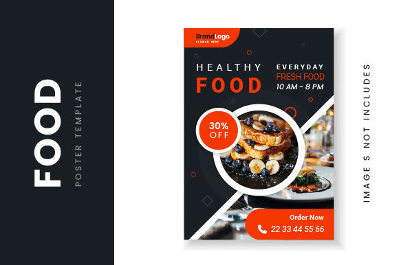 Food Black Poster with Photo Graphic Print Templates By HengkiL
