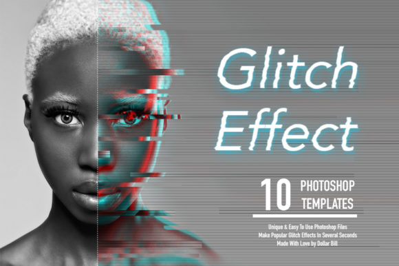 Download Free Glitch Effect Set For Photoshop Graphic By Billcreativestore for Cricut Explore, Silhouette and other cutting machines.