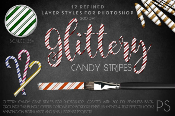 Glittery Candy Stripes Graphic Layer Styles By FlyGirlMedia