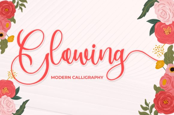 Print on Demand: Glowing Script & Handwritten Font By goodjavastudio