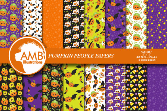 Halloween Pumpkin Faces Patterns Graphic Patterns By AMBillustrations