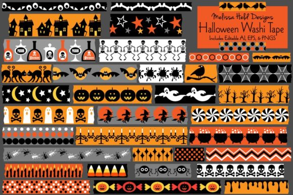 Download Free Halloween Washi Tape Clipart Graphic By Melissa Held Designs for Cricut Explore, Silhouette and other cutting machines.