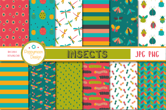 Print on Demand: Insect Paper Graphic Patterns By poppymoondesign